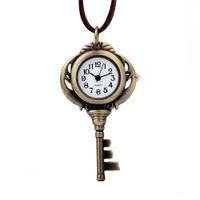 Wholesale key watch necklace resale online - Unique Fashion Vintage Gold Color Key Pocket Watch With Leather necklace