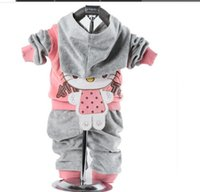 Wholesale Velvet Bow Clothes - Baby sets cartoon velvet sets twinset long sleeve sets hoodie+pants 2pcs sets Newborn baby cotton suits Children clothes
