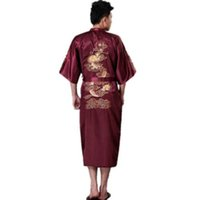 Wholesale Traditional Chinese Robes - High Quality Burgundy Traditional Chinese Men's Silk Satin Robe Embroidery Dragon Kimono Yukata Bath Gown plus size