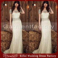 Wholesale Silver Dress Small Train - Luxury Wedding Dresses Crystal Line Spring 2017 Jenny Pack Illusion Neckline Small A Line Short Sleeve Ivory Chiffon Bling Bling Bridal Gown