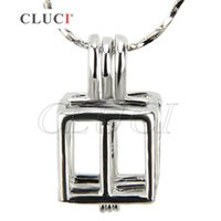 Wholesale Gifts Christmas Presents - Christmas present Christmas Gift of 18K silver plate Box cage pendant Pack of 5pcs, 19.6*10.8*10.3mm