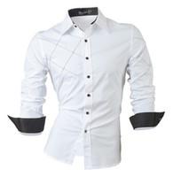 vestido adelgazante para el pecho al por mayor-2016 camisas casuales visten para hombre ropa de manga larga de un solo pecho social slim fit marca boutique de algodón botón occidental