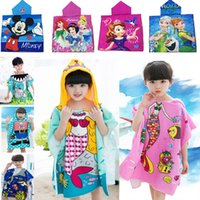 Wholesale Kids Hooded Beach Towels Wholesale - New Cartoon Beach Towel Children Kids Wrap Hooded Towel Boys Girls Absorbent Bath Towel For Snow White Princess Mickey Mermaid HH7-22