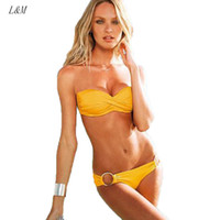 Wholesale Spandex Bandeau Swimsuits - NEW Sexy Metal Ring Design Push Up Bandeau Bikini Set Strapless Steel Support Padded Women Swimsuit