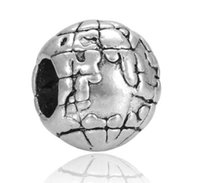 Wholesale Earth Globe Necklace - Fits Pandora Bracelets 10pcs Earth The Globe Charms Beads Silver Charms Bead For Wholesale Diy European Necklace Jewelry Accessories