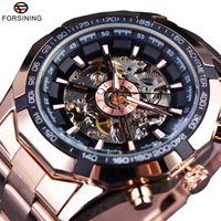 Wholesale triangle clocks resale online - Winner Classic Transparent Full Golden Mens Watches Top Brand Luxury Men Sport Automatic Watch Skeleton Watch Clock Wrist Watch