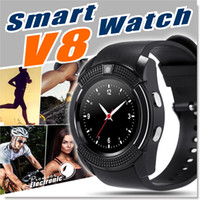 Wholesale Control Wrist Watch - V8 Smart Watch Bluetooth Watches Android with 0.3M Camera MTK6261D Smartwatch for android phone Micro Sim TF card with Retail Package