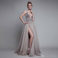 Купить Вечернее Платье Выпускного Вечера-Sexy Side Split Evening Dresses 2017 Deep V Neck Backless Bead Crystal Party Gowns Sleeveless Sweep Train Cheap Tulle Prom Dress