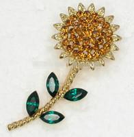 topaz pimleri broşlar toptan satış-Güzel Yeni stil en satış 12 adet / grup Ayçiçeği Pin Broş, Yeşil Markiz Topaz Kristal Rhinestone broşlar, Düğün parti Çiçek takı hediye
