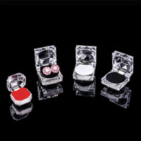Wholesale Gift Boxes For Sale Wholesale - China Make Jewelry Display Acrylic Ring Boxes Earring Box Gift Boxes Case Plastic Ring Display Wedding Ring Box for Sale Free Shipping