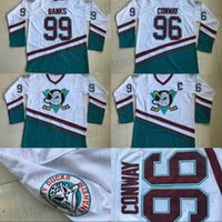 Wholesale mens throwback shirts resale online - Cheap Mens Throwback Charlie Conway Adam Banks Anaheim Mighty Ducks Hockey Jersey Apparel Shirts Stitched White Green