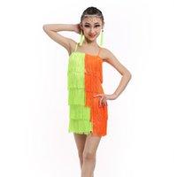 Wholesale Tutus Latin - 2016 Latin Dance Dress For Girls Ballet Tutu Sequins Kids Dance Dresses Modern-Dance-Costumes-For-Kids Tassel