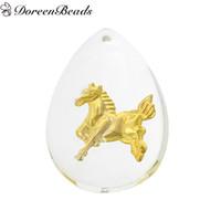 Wholesale Zodiac Horse Pendant - Resin Charm Pendants Teardrop White Golden Chinese Zodiac Horse Pattern 3.6cm x 26.0mm, 10 PCs 2016 new Free shipping jewelry making