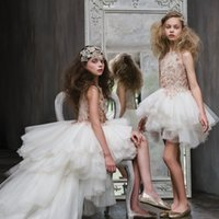 Wholesale Christmas Wedding Dress For Sale - Luxury High Low Flower Girls Dresses For Weddings Lace Applique Crystal Princess Dress For little Girl Sleeveless Hot Sale Pageant Gowns