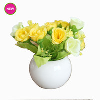 Wholesale I Pot - New Artificial Flower With Ceramic Pot Fake Silk Green Leaves Colorful for Birthday Thanksgiving Motherday Party Home Decoration 93-1001 I