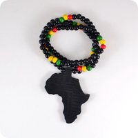 kolye ahşap boncuklar toptan satış-20 adet Iyi Ahşap NYC X Chase Sonsuz Siyah Afrika Harita Ahşap Boncuk Kolye Hip Hop Moda Takı