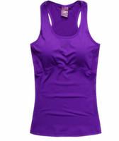 fitness-profi-shirts großhandel-Großhandels-Berufseignungs-Trägershirt-reizvolle Frauen-Sport-T-Shirt Trainings-Weste-Übungs-Kleidung, die die rüttelnde Gymnastik-Purpur laufen lässt Freies Verschiffen