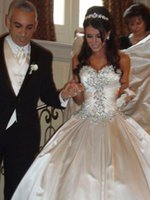 Wholesale Dresses Shiny Strapless Train - 2016 Luxury Royal Train Wedding Dresses Shiny Crystal Pearls Sweetheart Ball Gown Wedding Gowns Removable Train Vestido De Noiva