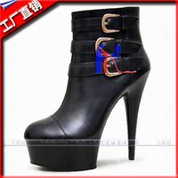 Wholesale Platform Heels 5cm - 2016 fashion sexy knight female ladies 5cm high heels platform ankle boots for sexy women autumn winter shoes 15cm thin heels