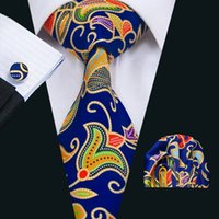 Wholesale stylish men ties for sale - Group buy Classic Blue Yellow Brown Tie With Cufflinks Hanky New Arrival Men s Silk Priting Tie Stylish Party Wedding Tie N