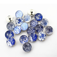 Wholesale Cross Jewelry Color - Wholesale 18mm noosa chunk glass snap blue and white color jewelry