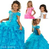 cupcake kid festzug kleid kurz groihandel-Blau Rosa Weiß Mädchen Festzug Kleid Prinzessin Perlen Rüschen Party Cupcake Abendkleid Für Kurze Mädchen Hübsches Kleid Für Kleines Kind