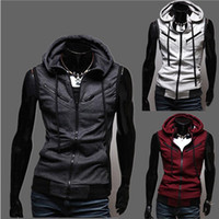 Wholesale Sleeveless Sweater Coat - Sleeveless Hoodies Coat Slim Personalized hat Design Hoodies Sweatshirts Jacket Sweater Assassins creed Size M-3XL Plus Size