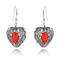 Wholesale Ruby Drop Vintage Earrings - fashion jewelry Vintage Ruby Earrings 925 Sterling Silver Heart Wing Shape Women's Drop Earrings chandelier long earring