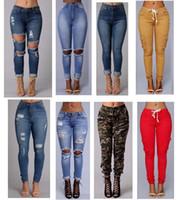 seksi moda kot toptan satış-2018 seksi moda yeni stil kadın yüksek bel kot Tam Boy kadın kot ince pantolon için kot Sıska Yırtık