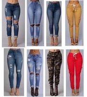 ingrosso jeans sexy della vita delle donne-Jeans a vita alta delle donne di nuova vita di stile sexy di modo 2018 jeans di lunghezza completa strappati Skinny per i pantaloni sottili dei jeans delle donne