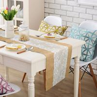 tischläufer textilien großhandel-Jute und Spitze Tischläufer Hochzeit Dekoration 30x275cm Moderne Jute Party Tischläufer Vintage Home Decor Home Textile