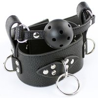 Wholesale Leather Collar Gag - 10pcs lot PVC Leather Sex Collar Harness With Open Mouth Gag Ball Slave Collar Restraint Chastity Fetish Sexy Toy For Adult Game