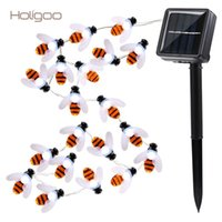 Wholesale Bee Solar - Wholesale- Holigoo Honey Bee Solar String Lights 20 Led Garland Light String Flasher Bumble Bee Lights for Garden Home Party Decoration
