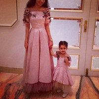 Wholesale Beating Dress - Dubai Arabic Formal Mother And Daughter Beat Matching Evening Prom Party Gowns Appliques Beaded Appliques Amazing Flower Girls Dress