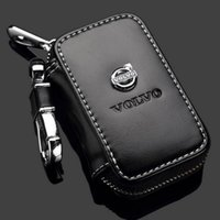 Wholesale key cases - Volvo Key Case Premium Leather Car Key Chains Holder Zipper Remote Wallet Bag for Volvo key cover accessories Remote Key Bag