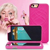 Wholesale Iphone Case Neutral - Neutral Fashion Lady Make Up Mirror Wallet Case for iPhone 6 6s 4.7 inch Flip PU Leather Case for iPhone 6 Plus 6s + 5.5 inch