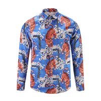 Wholesale Tiger Print Long Shirts Design - newest 2017 stylish Design 3D Tiger Embroidery Floral Print Mixture Colour luxury casual long sleeved mens shirts M-3XL medusa shirt