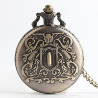 Wholesale clock locket necklaces - Bronze HITMAN REBORN Vongola Family badge pocket watches clock locket necklace women Ancient Bronze analog quartz Watch jewelry gift 230191