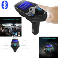 Wholesale Hand Card - T11 Bluetooth Hands-free Car Kit With USB Port Charger And FM Transmitter Support TF Card MP3 Music Player Also BC06 BC09 T10 X5 G7 Car Kit