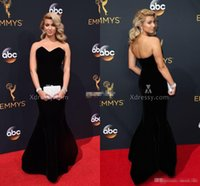 Wholesale Emmy Awards V Neck Ruffle - Sweetheart Mermaid Velvet Evening Gowns Long 2016 68th Annual Emmy Awards Tori Kelly Celebrity Red Carpet Dresses Backless Prom Dress Cheap