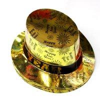 serie hüte großhandel-Papierformale Hut Frohes Neues Jahr Magie Tanzen Kappe Feuerwerk Muster Geburtstag Partyhüte Splitter Goldene 3jb B R