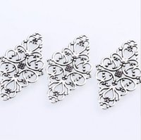 Wholesale Antique Filigree Charm Findings - 100PCs Antique Silver Hollow Filigree Flower Connectors Charms For Jewelry Making Finding 41x24mm