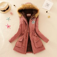 Promotions 2016 Fashion Autumn Warm Winter Fur Collar Manteaux Vestes pour Femmes Long Parka Plus Size Parka Hoodies