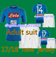 Wholesale Dry Suits - 2017 Top quality New Napoli soccer Jersey 17 18 Adult suit HAMSIK home blue INSIGNE MERTENS thai quality Naples football shirt kits