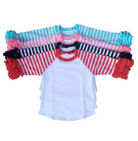 Wholesale Toddler Ruffle Shirts - High quality cotton toddler girls cheep tee-shirt orange stripe halloween raglan design t-shirts ruffle fall top