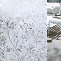 pegatina escarchada al por mayor-Nuevo 45 * 100 CM prueba de UV estática pegajosa esmerilada flor de cristal etiqueta de la película de la ventana de privacidad decoración para el hogar