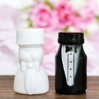 400pcs / lot Romantic Lovely Bride Groom vazio Bubble Soap Bottles Wedding Birthday Party Decoração Gift Favors Supplies ZA3820