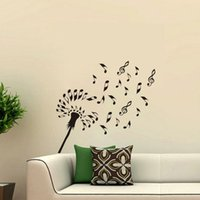 Wholesale Interior Design Wallpapers - Musical Symbols Dandelion Wall Stickers Decoration Vinyl DIY Flower Wall Decals Removable Interior Design Wallpaper