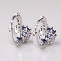 Wholesale Charms For Earings - MOLIAM Charming Women Earings Fashion 18k White Gold Plated Hoop Earrings Brand Sapphire Lovely Huggie Earring For Party E003f