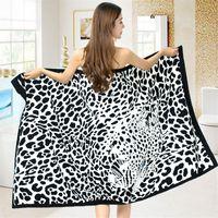 draps de plage serviettes achat en gros de-BZ362 Super-absorbant Imprimé Leopard Terry Serviette de Bain pour Adulte Bain Natation Wrap Couverture Rapide Sec Feuille de Piscine Serviette de Plage